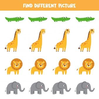 Zoek een ander beeld tussen schattige afrikaanse dieren.