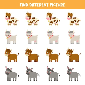 Zoek een ander beeld van boerderijdieren. educatief logisch spel voor kinderen.