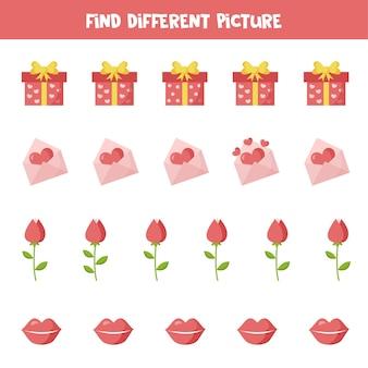 Zoek een ander beeld van valentijnselementen. educatief logisch spel voor kinderen.