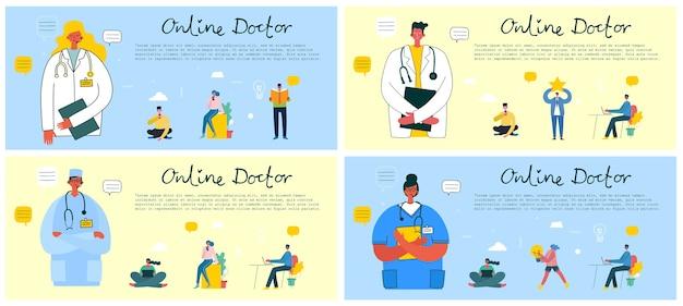 Zoek een dokter. online dokter. banner in moderne vlakke stijl