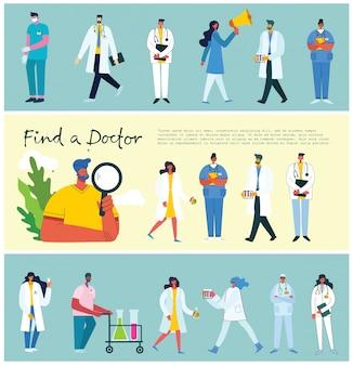 Zoek een dokter. team artsen achtergronden. vectorillustratie in vlakke stijl