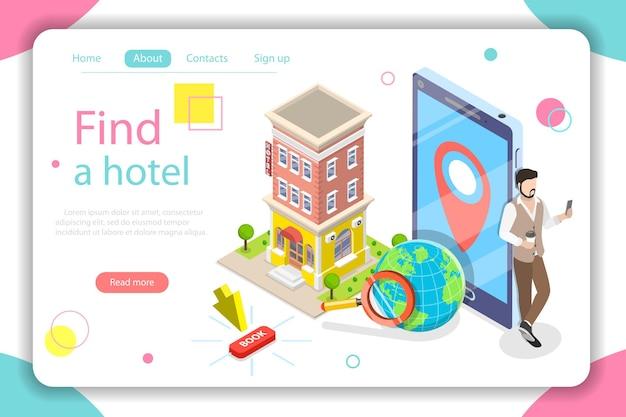 Zoek een hotel plat isometrische vector concept illustratie.