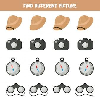Zoek een object dat anders is dan anderen. safari reisuitrusting. logisch spel voor kinderen.