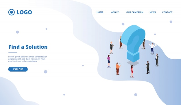 Zoek een oplossing om het concept van een zakelijk probleem op te lossen voor een websitesjabloon of een startpagina op de startpagina