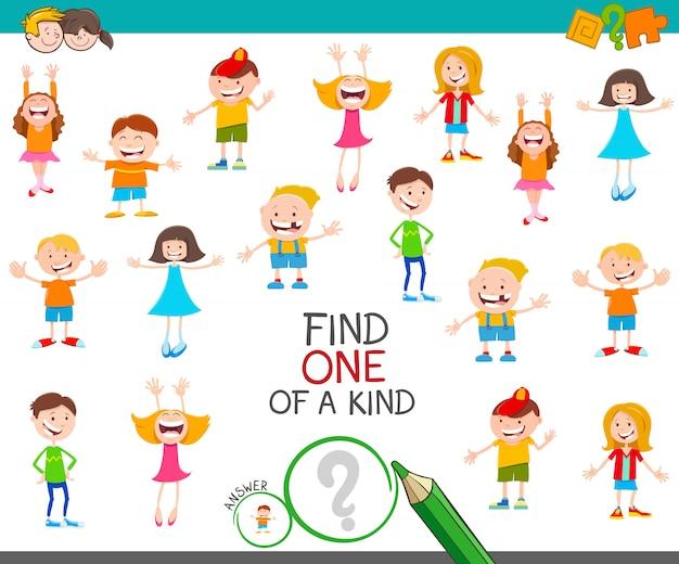 Zoek een van een soort spel met kinderen