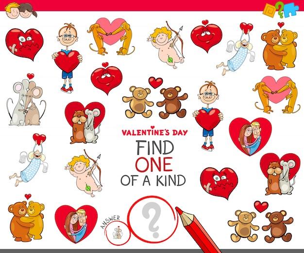 Zoek een van een soort valentines karakter