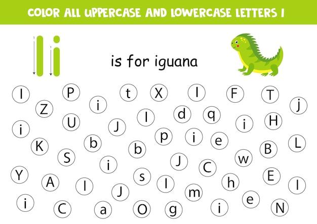 Zoek en kleur. educatief werkblad voor het leren van alfabet. abc letters. ik ben voor leguaan