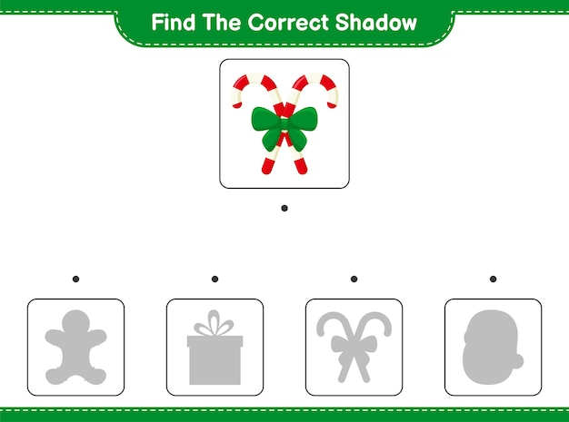 Zoek en match de juiste schaduw van candy canes met ribbon