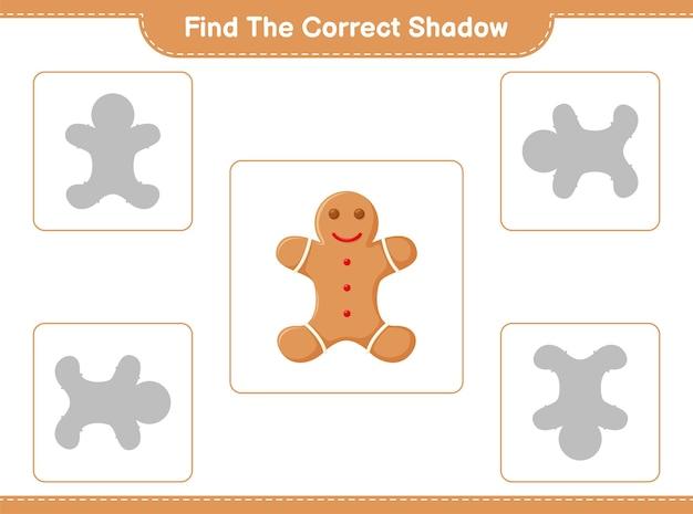 Zoek en match de juiste schaduw van gingerbread man
