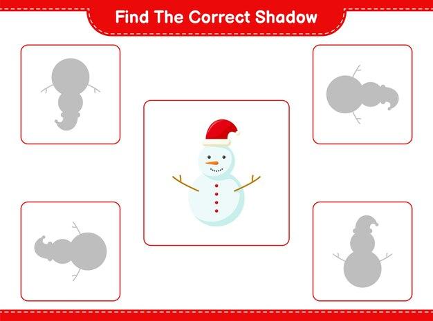 Zoek en match de juiste schaduw van sneeuwman