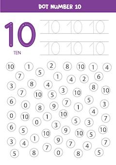 Zoek en punt nummer tien. nummer 10 leren met kinderen. educatief werkblad.