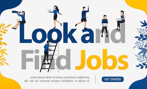 Zoek en vind banen voor posterwerken en de illustratie van de bestemmingspagina