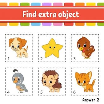 Zoek extra object. educatief werkblad voor kinderen en peuters. spel voor kinderen.
