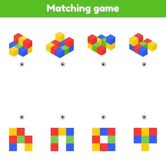 Zoek het bovenaanzicht. bijpassende game. kleur blokjes. werkblad voor kinderen.