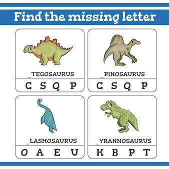 Zoek het spel met ontbrekende letters voor kleuters