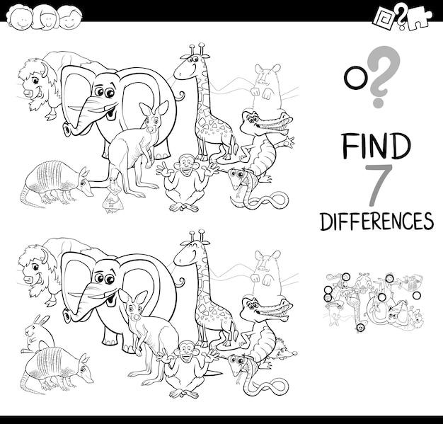 Zoek het verschil met dieren kleurboek