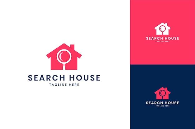 Zoek huis negatief ruimte logo-ontwerp
