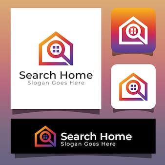 Zoek huislogo, onroerend goedzoeker huislogo-ontwerp