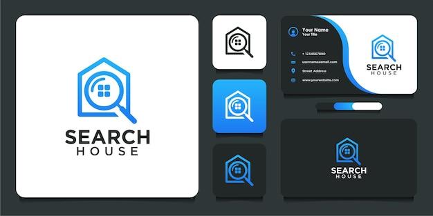 Zoek huislogo-ontwerp in moderne stijl en visitekaartje