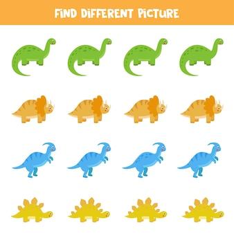 Zoek in elke rij een andere afbeelding van een dinosaurus. educatief logisch spel voor kinderen.