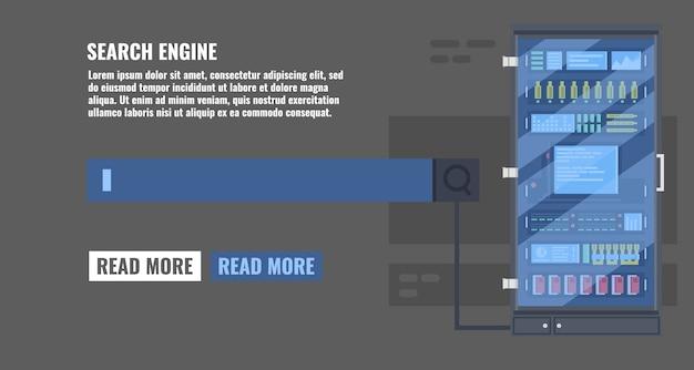 Zoek informatie concept met zoeken tekst lijn en data server