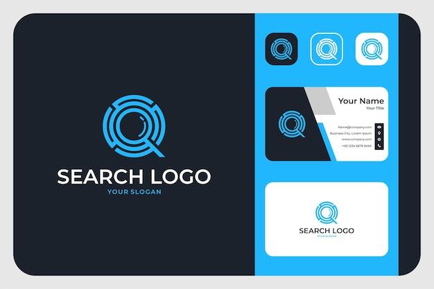 Zoek modern blauw logo-ontwerp en visitekaartje