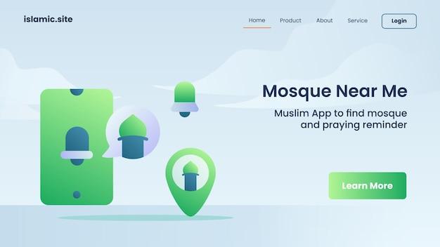 Zoek moskee bij mij in de buurt voor website-sjabloon landing of homepage-ontwerp