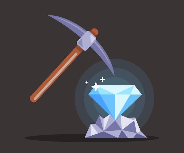 Zoek naar diamanten in de mijn met een houweel. extractie van sieraden. vlakke afbeelding.