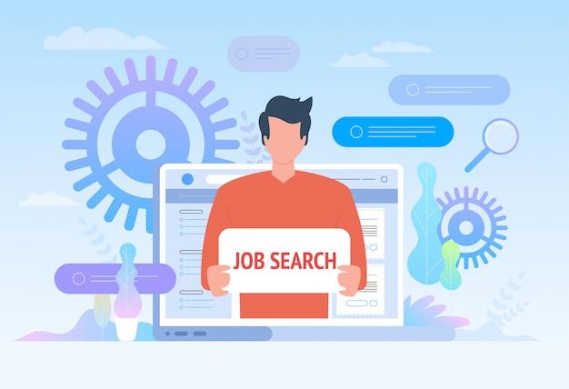 Zoek naar werk. werknemer op zoek naar baan illustratie