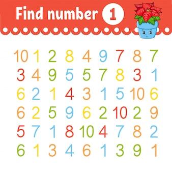 Zoek nummer. onderwijs ontwikkelt werkblad. activiteitenpagina met afbeeldingen. spel voor kinderen.