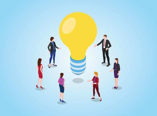 Zoek of vind ideeën of oplossingsconcept met teamdiscussie over vergaderen