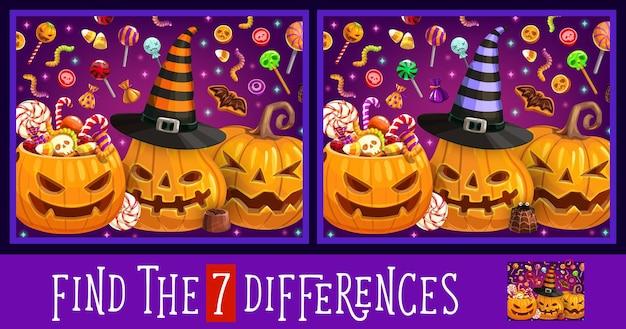 Zoek of zoek verschillenspel, halloween-pompoenen