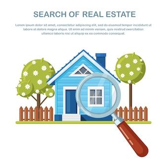 Zoek onroerend goed door vergrootglas. vind onroerend goed te huur, hypotheek. huisinspectie