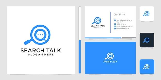 Zoek praten logo-ontwerp en visitekaartje