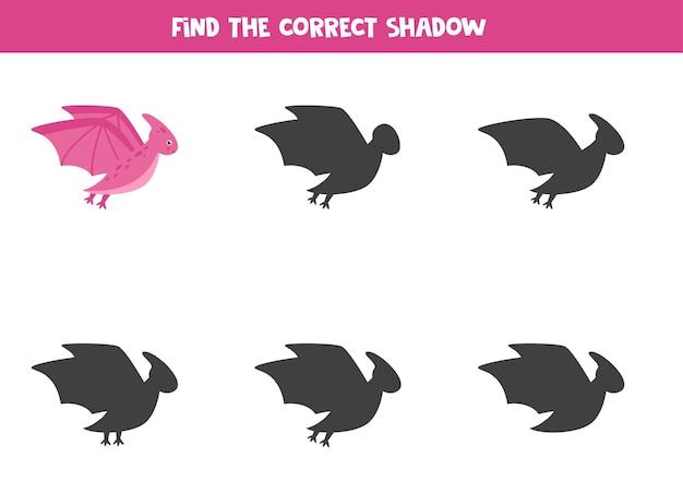 Zoek schaduw van cartoon dinosaurus pterodactyl. educatief logisch spel.