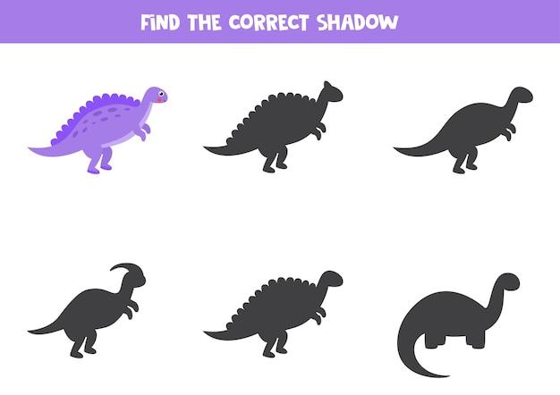 Zoek schaduw van cartoon dinosaurus spinosaurus. educatief logisch spel.