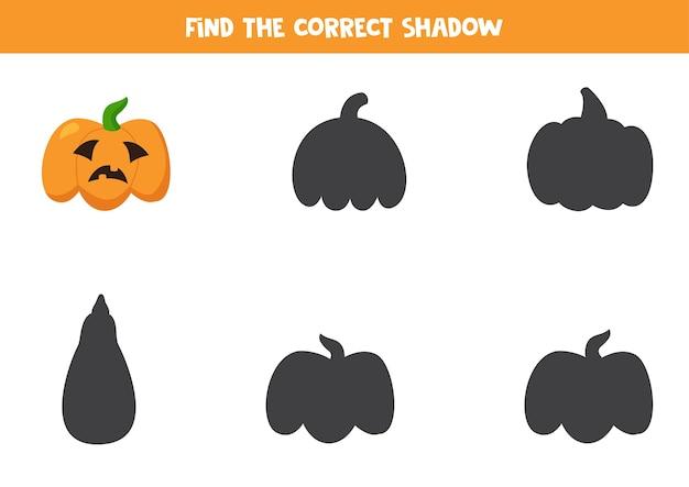 Zoek schaduw van cartoon halloween-pompoen. llustration van hefboom o lantaarn. educatief logisch werkblad voor kinderen.