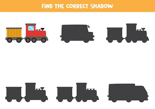 Zoek schaduw van cartoon trein. educatief logisch spel voor kinderen.