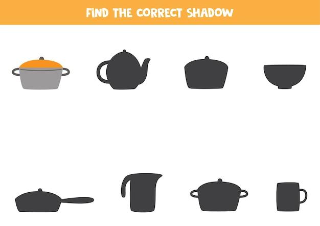 Zoek schaduw van kookpot. educatief logisch spel voor kinderen.
