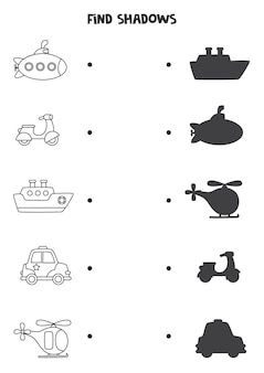 Zoek schaduwen van transportmiddelen. zwart-wit werkblad. educatief logisch spel voor kinderen.