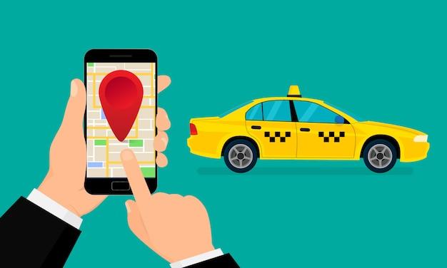 Zoek taxi, illustratie