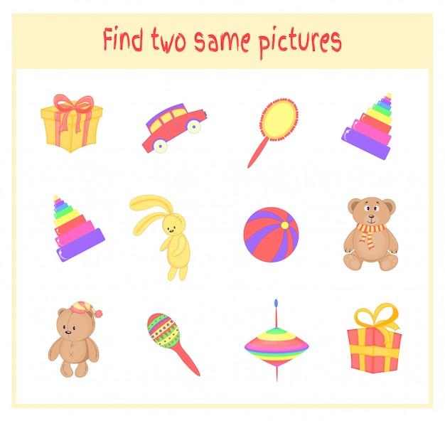 Zoek twee dezelfde afbeeldingen. cartoon vectorillustratie educatieve activiteit voor kleuters