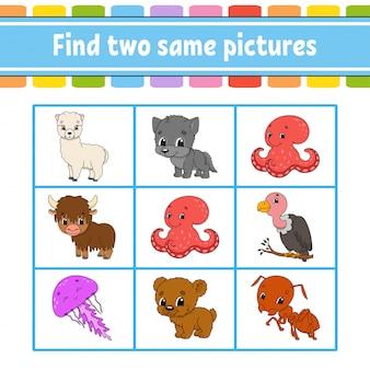 Zoek twee dezelfde afbeeldingen. taak voor kinderen. onderwijs ontwikkelt werkblad. activiteitspagina.