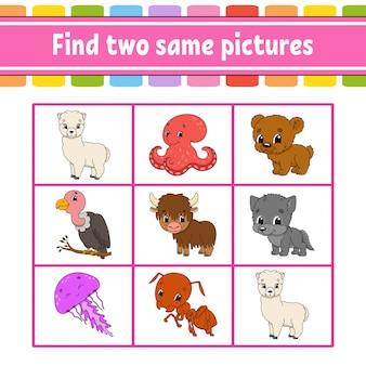 Zoek twee dezelfde afbeeldingen. taak voor kinderen. onderwijs ontwikkelt werkblad.