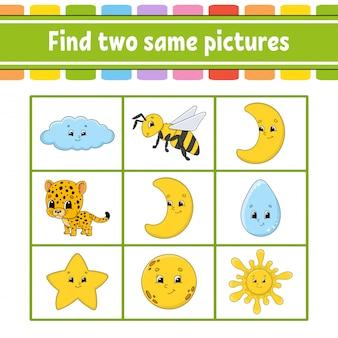 Zoek twee dezelfde afbeeldingen.
