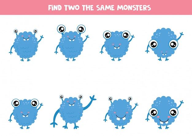Zoek twee dezelfde blauwe cartoonmonsters.