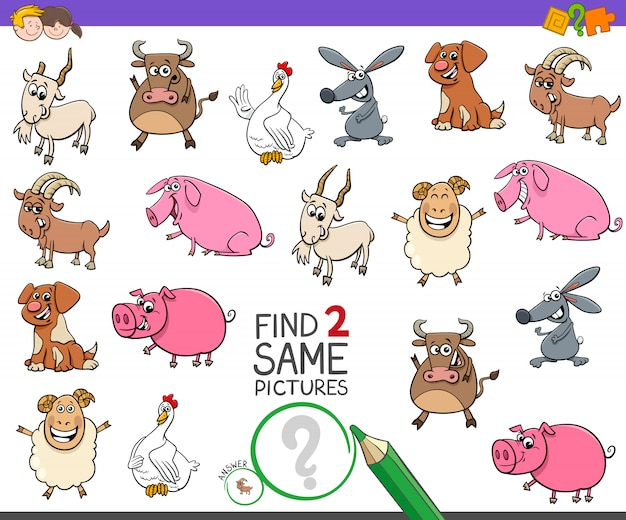 Zoek twee dezelfde boerderij dieren spel voor kinderen