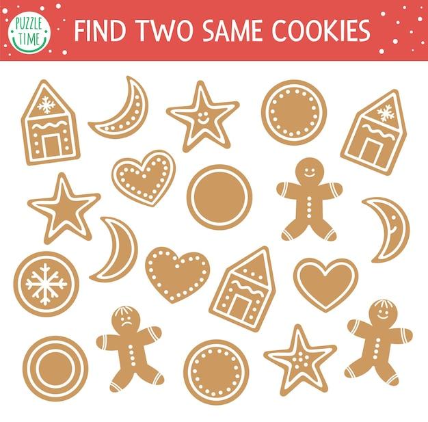 Zoek twee dezelfde cookies. kerst matching activiteit voor kinderen. grappige educatieve winter logische quiz werkblad voor kinderen. eenvoudig afdrukbaar nieuwjaarsspel met peperkoek