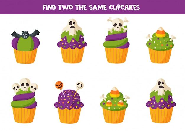 Zoek twee dezelfde halloween-muffins.