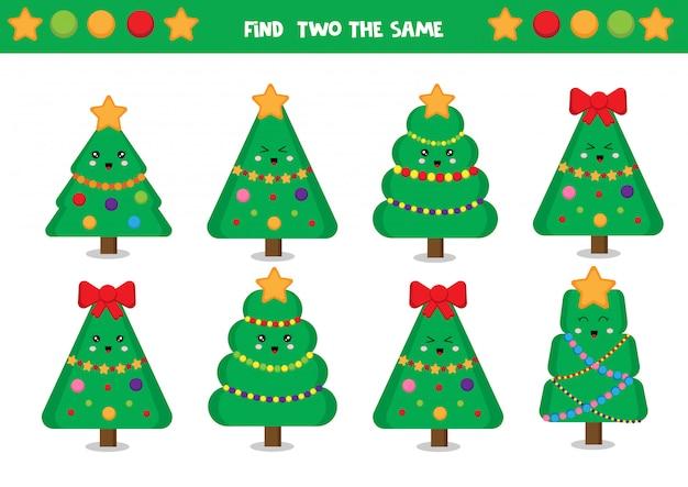 Zoek twee dezelfde kerstbomen.